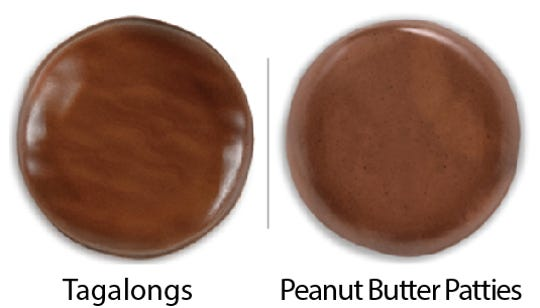 Girl Scout Cookie comparisons: Tagalongs vs. Peanut Butter Patties. Girl Scouts of the USA/Enrique Rodriguez composite