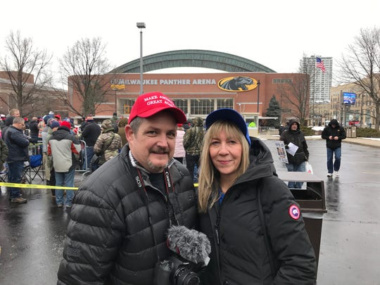 Kristine and Chris Mandelke traveled from Illinois for President Donald Trump's campaign rally in Milwaukee on Tuesday.