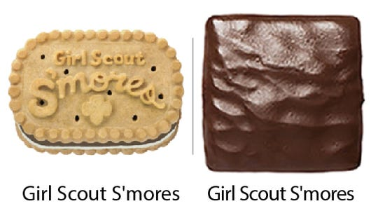 Girl Scout Cookie comparisons: Girl Scout S'mores vs. Girl Scout S'mores. Girl Scouts of the USA/Enrique Rodriguez composite