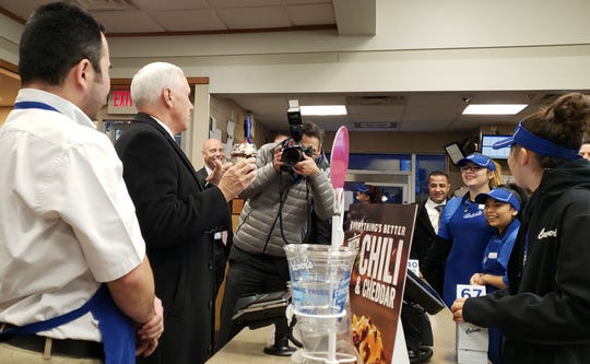 Vice President Mike Pence visits a Culver's restaurant at West Layton Avenue and South 6th Street in Milwaukee on Tuesday.