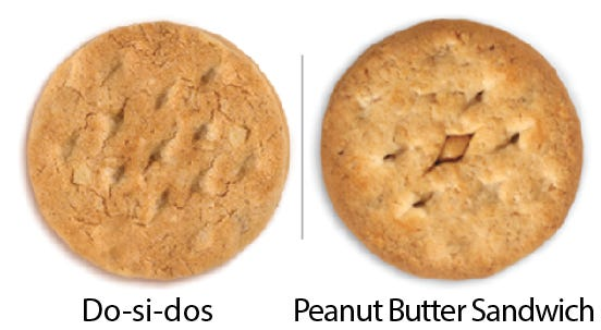 Girl Scout Cookie comparisons: Do-si-dos vs. Peanut Butter Sandwich. Girl Scouts of the USA/Enrique Rodriguez composite
