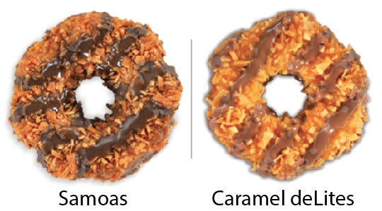 Girl Scout Cookie comparisons: Samoas vs. Caramel deLites. Girl Scouts of the USA/Enrique Rodriguez composite