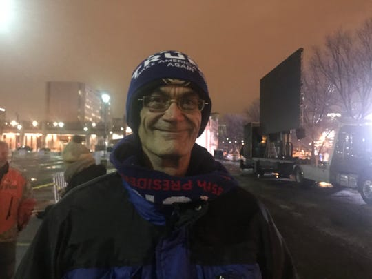 Rick Frazier, a retired pipefitter from Ohio, got into line for President Donald Trump's campaign rally almost 24 hours before doors open at the adjacent UW-Milwaukee Panther Arena.