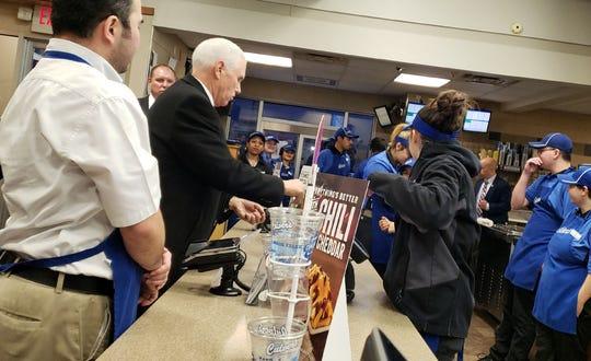 Vice President Mike Pence visits a Culver's location in Milwaukee at West Layton Avenue and South 6th Street. Photo by David Wise /  WisPolitics.com