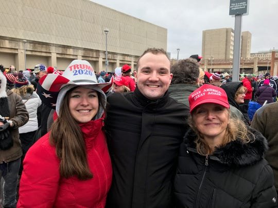 Left to right: Dana Rio, Ian Swearingen and Tina Rio came from Illinois for President Donald Trump's Jan. 14, 2020, rally in Milwaukee. Bill Glauber/Milwaukee Journal Sentinel