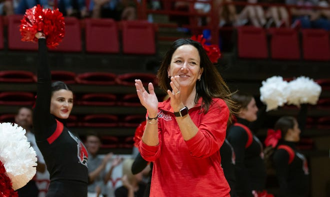FILE -- Ball State gymnastics coach Joanna Saleem cheers on her team during a home meet.