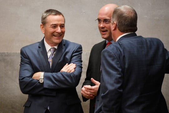 Former Speaker of the House Glen Casada mills around on the House floor during the first day of the state legislature in Nashville, Tenn. on Tuesday, Jan. 14, 2020.