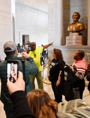 Protesters demand the removal of a bust of Nathan Bedford Forrest during the first day of the state legislature in Nashville on Jan. 14, 2020.