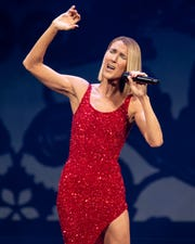 Celine Dion performs at Bridgestone Arena in Nashville, Tenn., Monday, Jan. 13, 2020.