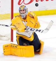 Jan 12, 2020: Predators 1, Jets 0 -- Nashville Predators goaltender Juuse Saros (74) eyes a blocker save in the third period against the Winnipeg Jets  at Bell MTS Place.