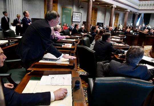 Sen. Paul Rose, R-Covington, casts his vote along with the majority of the Senate for a bill to allow adoption agencies to deny same-sex couples adoptions during the first day of the state legislature in Nashville, Tenn. on Tuesday, Jan. 14, 2020.