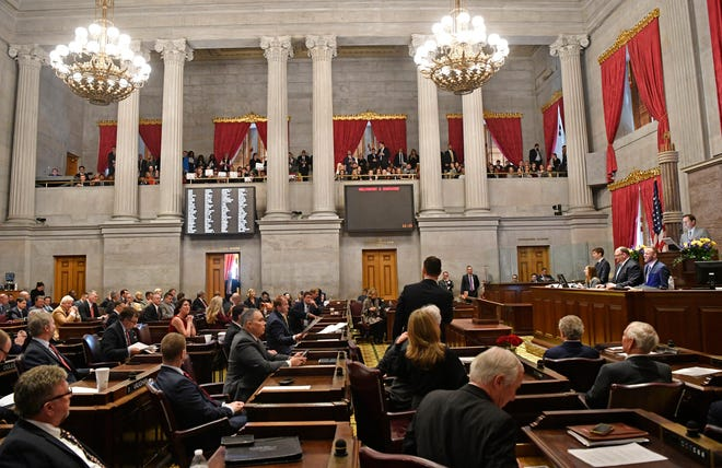 Representatives take their seats during the first day of the state legislature in Nashville on Tuesday, Jan. 14, 2020.