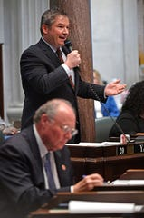 Senate Minority Leader Jeff Yarbro, D-Nashville, unsuccessfully tried to amend the bill to only offer protections on licensing and legal challenges to adoption agencies that are not receiving public funds during the first day of the state legislature in Nashville, Tenn. on Tuesday, Jan. 14, 2020.