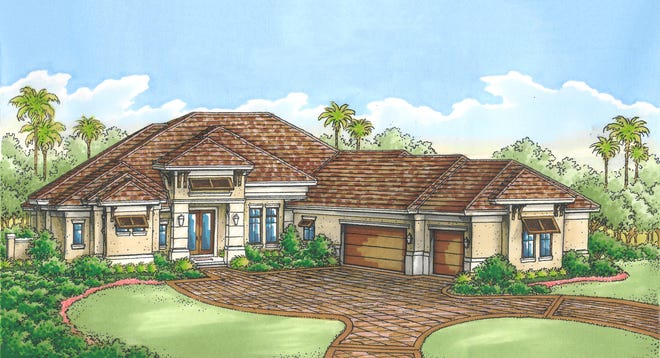 The Cambridge II, by Florida Lifestyle Homes, offers golf and lake views.