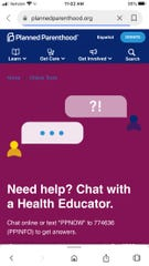 The home page of Planned Parenthood's Chat/Text online program