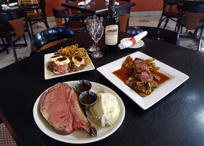 Charlie Brown's prime rib slider appetizers, sliced tenderloin with honey mustard and parmesan crust, and their signature prime rib.