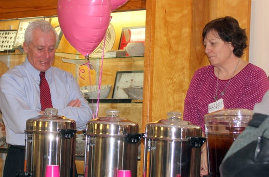 Mimbres Memorial Hospital and Nursing Home CEO Gary Poquette and Tamara Hand at the refreshments..
