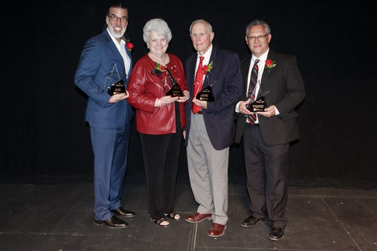 """2019 honorees of the College of Arts and Sciences """"A Starry Night"""" gala are Don Foster, Star of the Arts; Wanda Bowman, Town and Gown Award, Price Kagey, Star of the Sciences; and Alejandro Lugo, Star of the Arts and Sciences."""