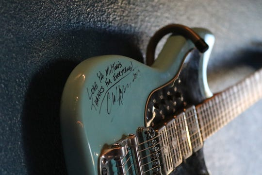 A commemorative guitar was left behind by a local musician, Jan. 13, 2020 at Milton's Brewing.