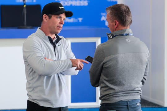 Golfer Paul Casey speaks with a reporter on Tuesday, January 14, 2020 before The American Express begins at PGA West in La Quinta, Calif.