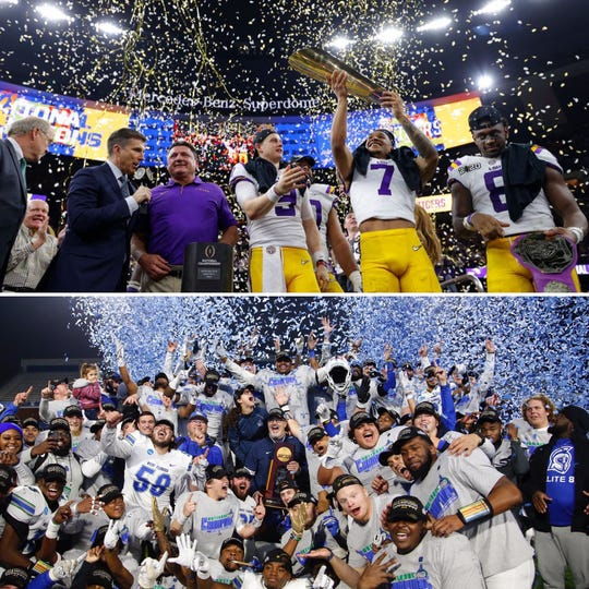 LSU (top) joined UWF (bottom) as football national champions on Monday, Jan. 13, 2020, after the Tigers' win in the College Football Playoff National Championship. UWF won the Division II national title in December.
