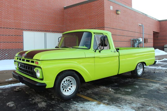 This restored 1965 Ford F-250 has new wheels and tires as well as a dual exhaust, spray-in bed liner, air shocks, stereo system and a restored interior.