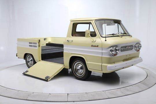 This 1962 Corvair Rampside pickup has been restored, with an air-cooled horizontally opposed Chevrolet Turbo-Air 145ci six-cylinder engine mounted in the rear and fitted with a 3-speed manual transmission.