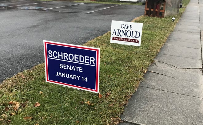 Signs for Michael Schroeder and Dave Arnold outside Hebron United Methodist Church on Jan. 14, 2020. Schroeder and Arnold are running for state senate.