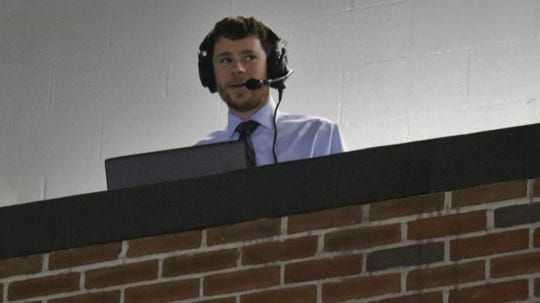 Port Huron Prowlers broadcaster Jeremy Skiba calls a game at McMorran Place.