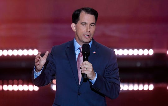 Wisconsin Gov. Scott Walker speaks on July 20, 2016, during the Republican National Convention in Cleveland. (Olivier Douliery/Abaca Press/TNS)