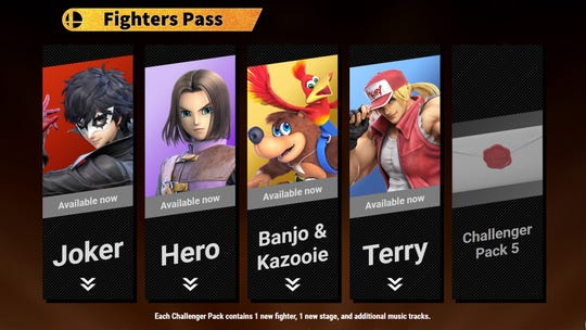 The Fighters Pass lineup for Super Smash Bros. Ultimate for the Nintendo Switch.