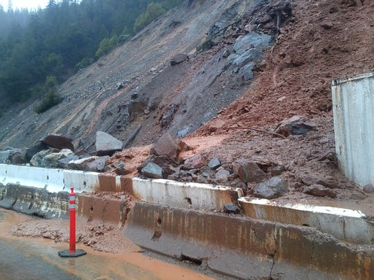 Highway 96 near Happy Camp was closed down Monday because of this rock and mud slide. \