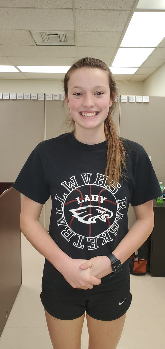 West Valley sophomore guard Maddie Bassett smiles outside of her school's main office on Jan. 14.