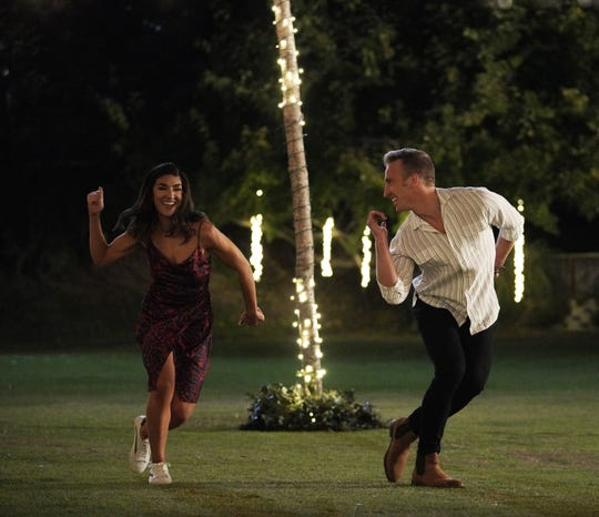 """Alex Morrissey, 28, photographed dancing with one of his two potential matches, McKenzie, during the season finale episode of """"Flirty Dancing."""""""