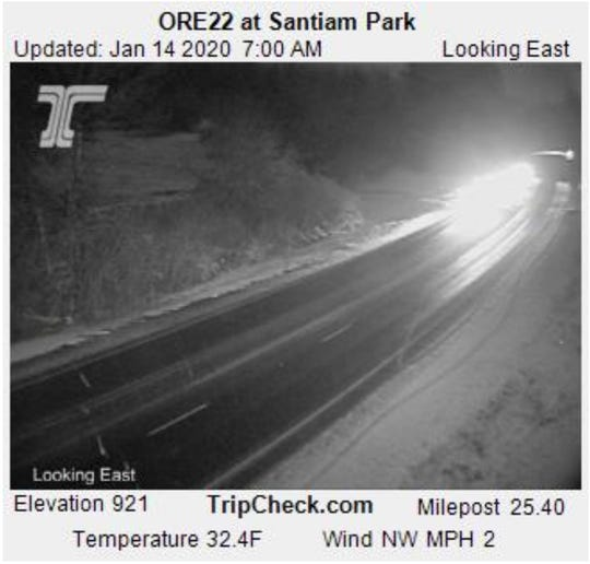 Webcam from over 900 feet Tuesday morning showed light snow on roads east of Salem, but not much white is expected to stick.