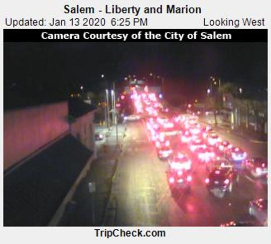 Traffic is backed up westbound along the Marion Street Bridge as far as downtown Salem following a crash on Highway 22.