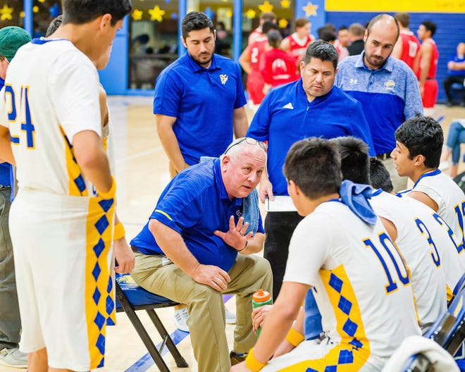 Reagan County boys basketball coach Ken Campbell talks to his team during a game against in Sonora on Jan. 7, 2020, in Big Lake.