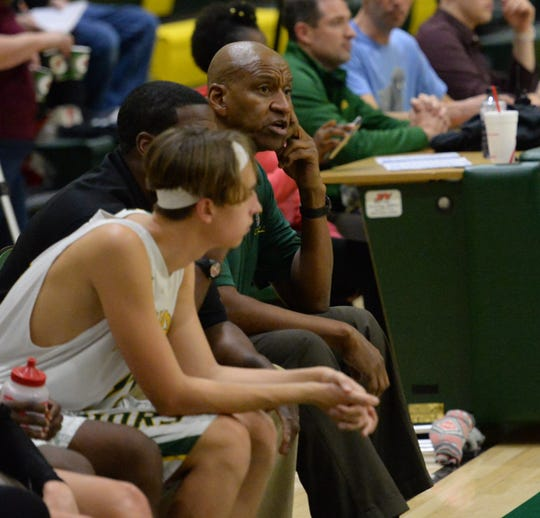 Mardela head coach Kenn Luck watches his team from the side on Monday, Jan. 13, 2020.