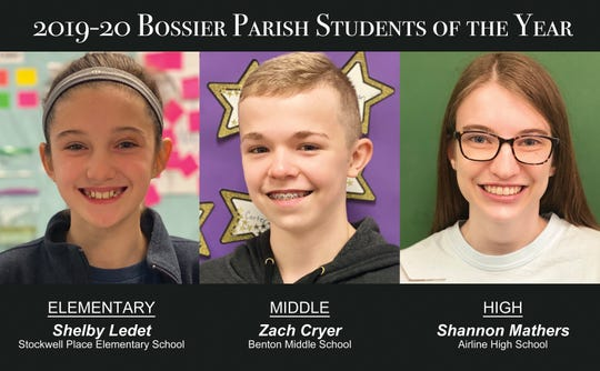 Shelby Ledet, Zach Cryer, Shannon Mathers are the Students of the Year in Bossier Parish.