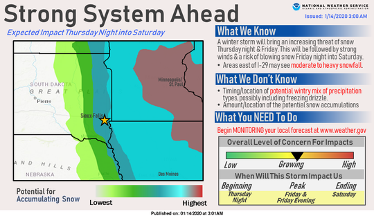 The Sioux Falls area could seen 2 inches or more because of a strong winter system expected to head east through the weekend, starting Thursday night, meteorologists said.