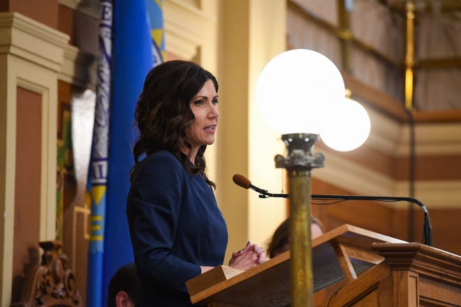 Governor Kristi Noem gives the annual State of the State address on Tuesday, Jan. 14, in the House Chamber at the State Capitol in Pierre.