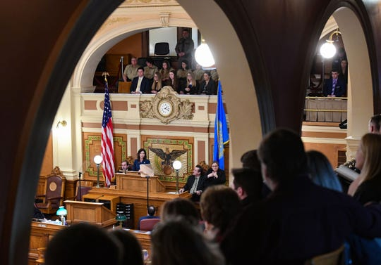Attendees in the gallery listen as Governor Kristi Noem gives the annual State of the State address on Tuesday, Jan. 14, in the House Chamber at the State Capitol in Pierre.