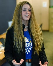 Kimball freshman Ellie Kuechle speaks about the group's desire to raise awareness for sex trafficking Tuesday, Jan. 14, 2020, at Kimball High School.