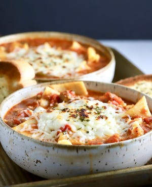 All you need is a piece of crusty garlic bread to sop up the goodness in Easy One-Pot Lasagna Soup.