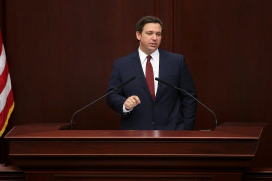 Gov. Ron DeSantis gives his State of the State speech in the House chambers, kicking off the 2020 Legislative session Tuesday, Jan. 14, 2020.
