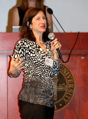 """Barbara Goldstein speaks as the Tallahassee Democrat honors its """"25 Women You Need to Know"""" at the FSU Alumni Center Ballroom on Monday night."""