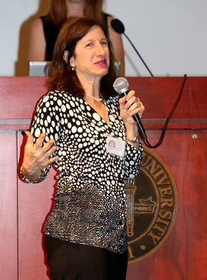 "Barbara Goldstein speaks as the Tallahassee Democrat honors its ""25 Women You Need to Know"" at the FSU Alumni Center Ballroom on Monday night."