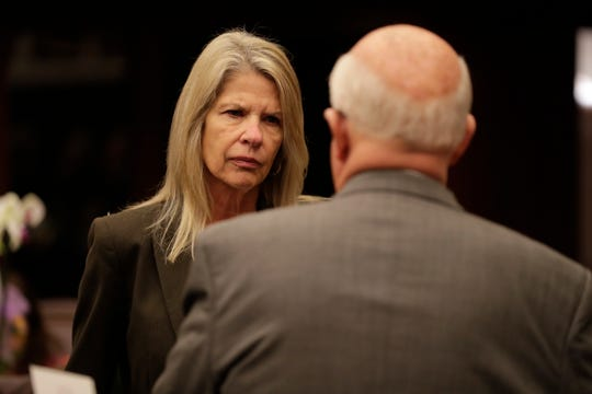 Sen. Debbie Mayfield, R-Indialantic, talks with Sen. Dennis Baxley, R-Ocala, before the Senate's first meeting of the 2020 legislative session Tuesday, Jan. 14, 2020.