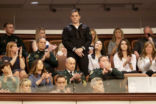Airman Ryan Joseph Blackwell, who was injured during the December NAS Pensacola shooting, is recognized during the first meeting of the Florida Senate for the 2020 legislative session Tuesday, Jan. 14, 2020.