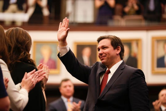 Gov. Ron DeSantis is recognized at the start of the Senate's first meeting of the 2020 legislative session Tuesday, Jan. 14, 2020.